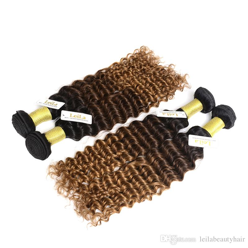브라질 인간의 머리카락 4Bunde 깊은 웨이브 컬리 1B / 4 / 27 옴브 버진 헤어 번들 Leilabeauthair 깊은 웨이브 1B / 4 / 27 번들에서