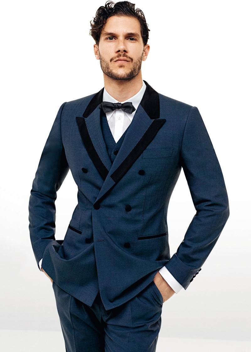 2015 Smoke Wedding Suits Tuxedo Jacket+Pants+Tie+Vest Prom Suits ...