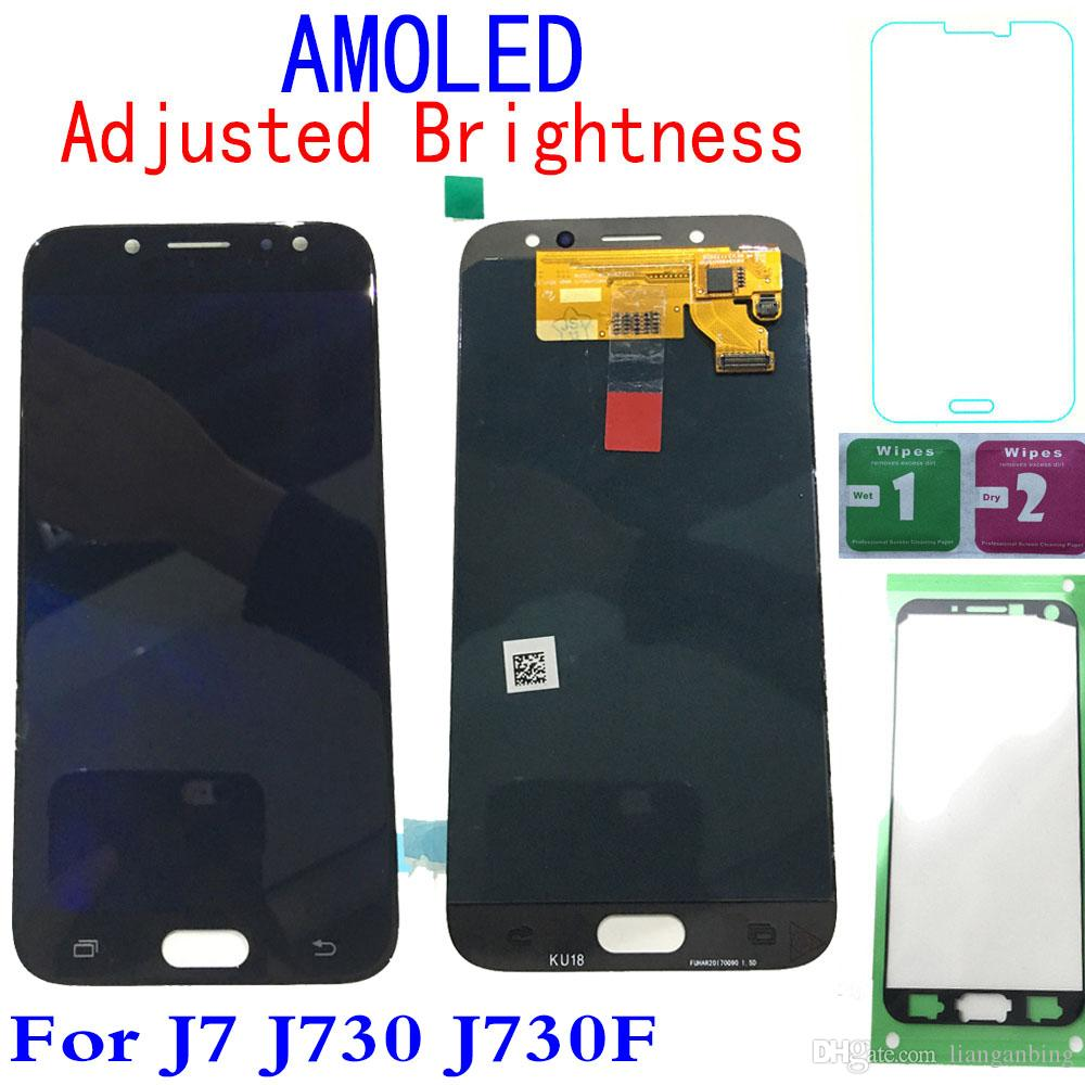 Super AMOLED LCD Display 100% Testsd Working Touch Screen Assembly For Samsung Galaxy J7 Pro 2017 J730 J730F Blue/Black/Gold DHL logistics
