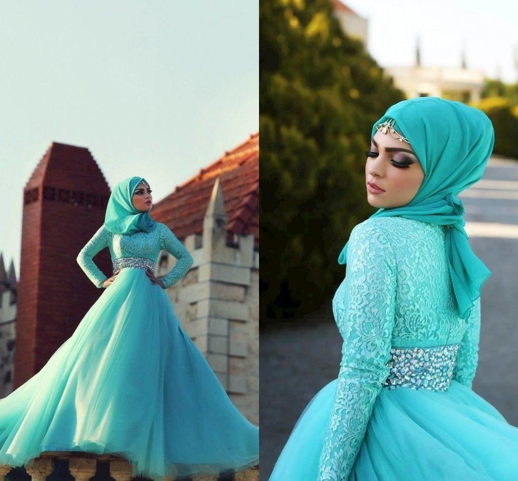 Discount Top 2015 Wedding Dresses Muslim Bride Gowns With Long Sleeves Arab Blue Bridal Dress Crystal Sash Lace Appliques Organza Custom Made Designer
