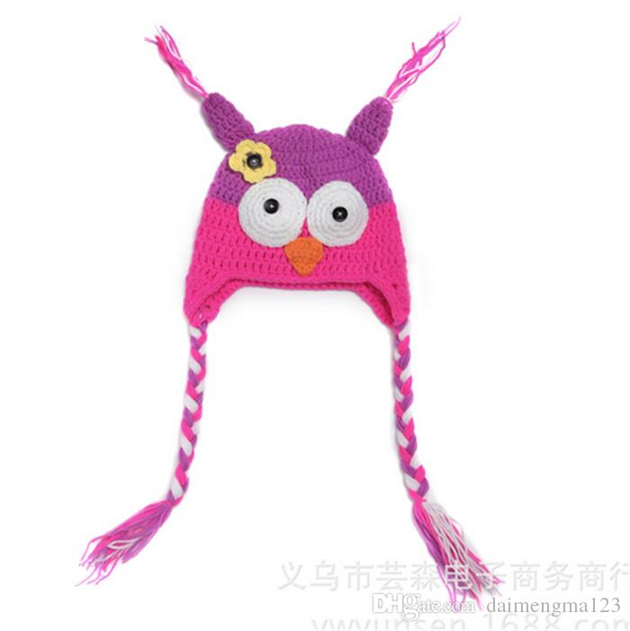 best price 33 designs Popular Baby winter cap Children Crochet Hats Knitted Animal cap Baby Owl hats Beanie hat Earmuffs cap D402