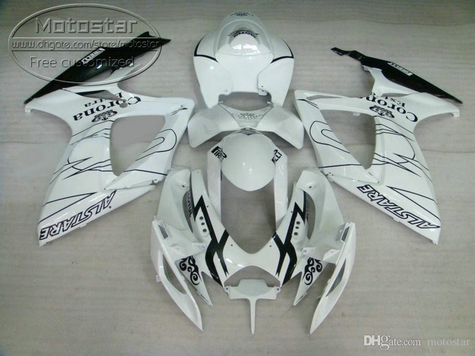 Novas peças de reposição para SUZUKI GSXR600 GSXR750 2006 2007 kit de carenagem K6 GSXR600 / 750 06 07 preto branco Carenagem Corona F9Q