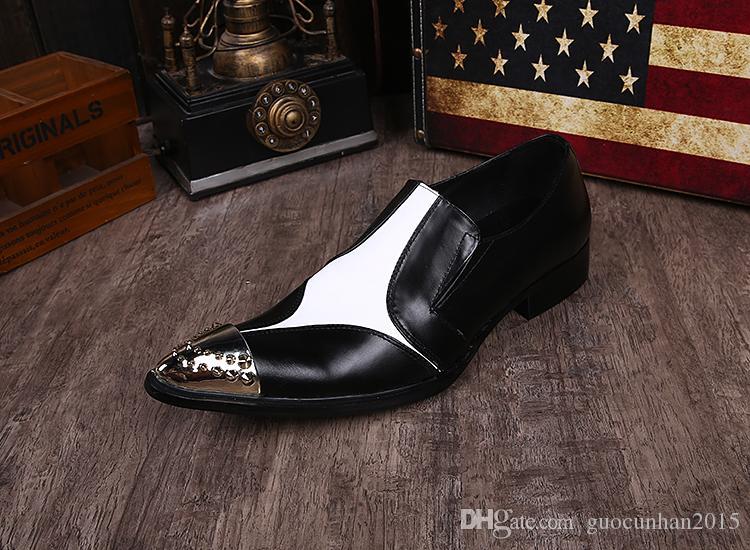 2106 Nouveau Design Style Britannique Chaussures De Mode Patch Blanc Noir Slip-On En Cuir Véritable Mâle Chaussures Habillées Chaussures Hommes En Métal Pointu Toe Oxfords