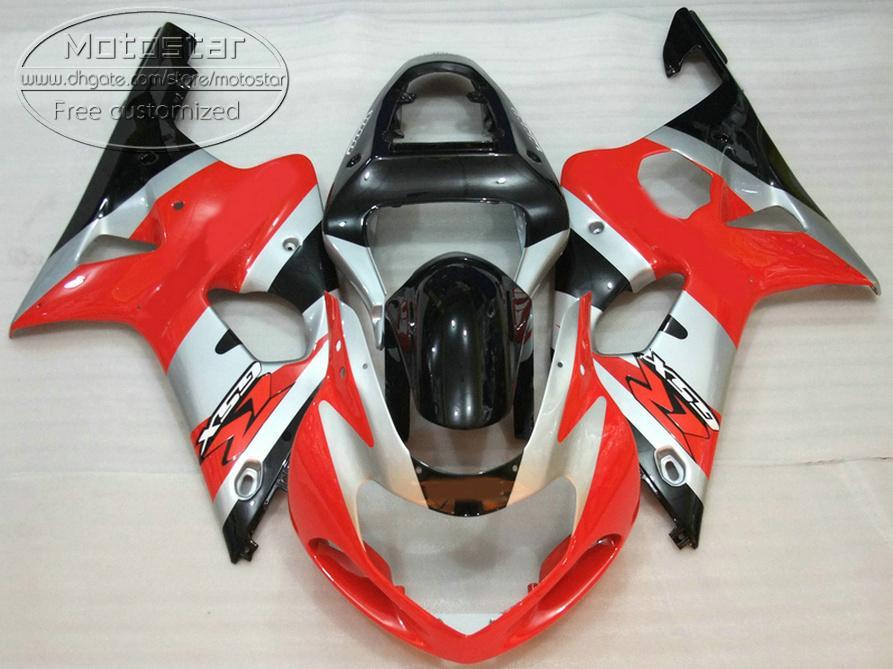 SUZUKI GSX-R1000 K2 2000 2001 2002 için plastik Fairing kiti gümüş siyah kırmızı kaporta fairings set 00 01 02 GSXR 1000 V5S