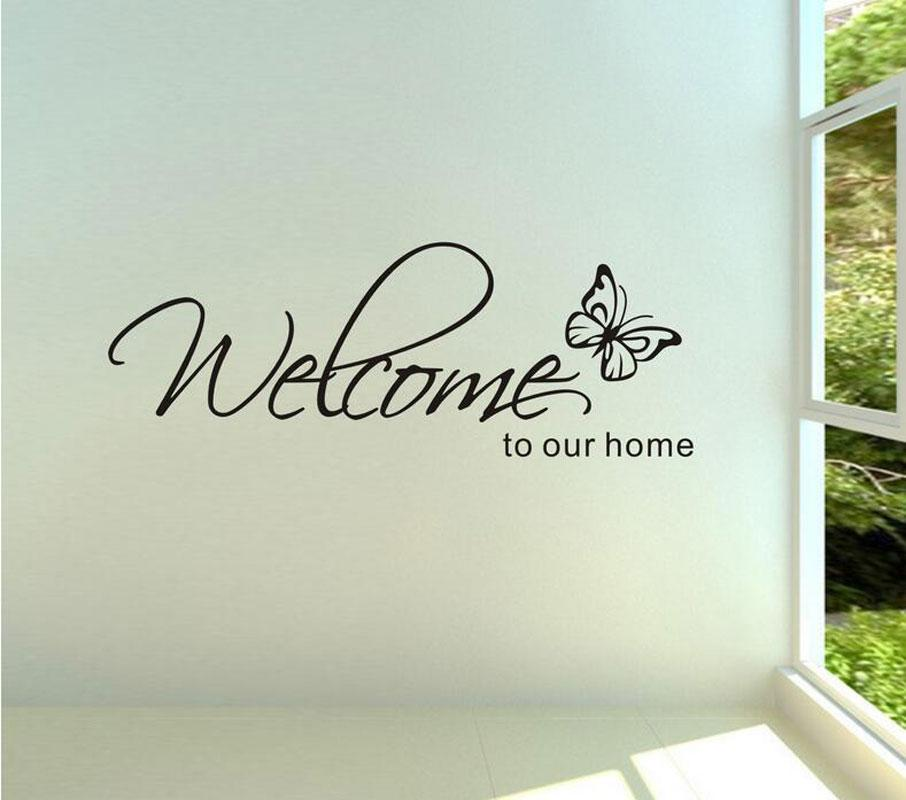 Stickers Muraux Home Decor \'Welcome To Our Home\' Text Patterns Wall ...