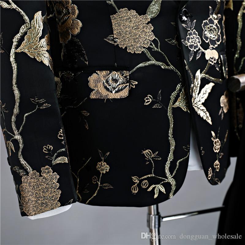 Chaquetas + Pantalones Trajes de lujo para hombres Novio Vestido de padrino de boda Pantalones de traje de negocios Boda Hombres Verano Slim Fit Prom Hombres Negro en stock Trajes 2018