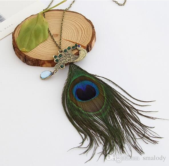 Bohemia wind Peacock Feathers Drill Pendent Necklace Fashion Brand Retro Simple Necklaces Wholesale