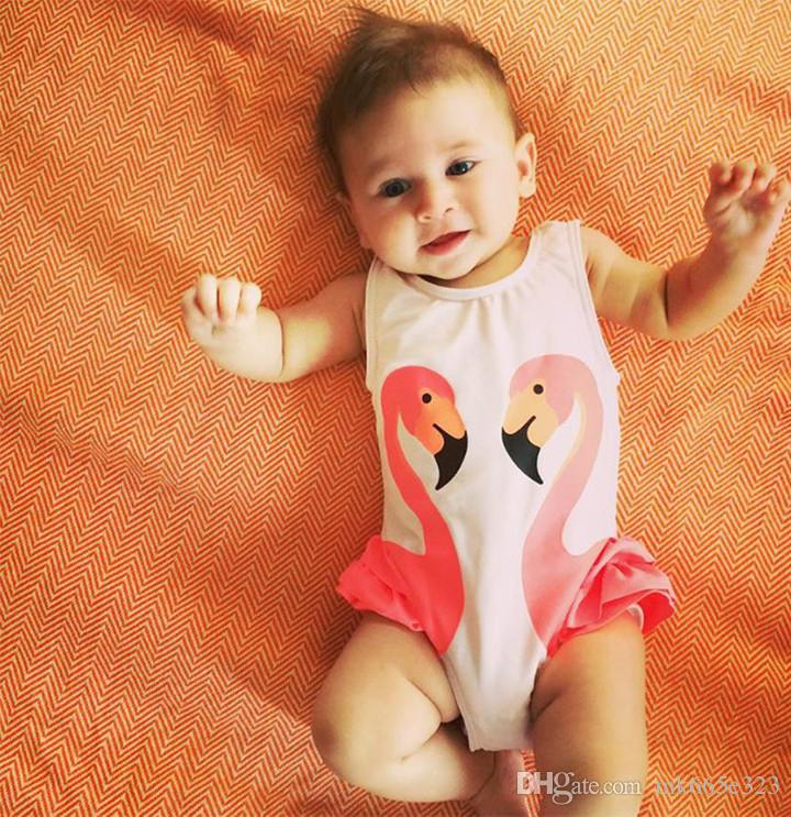Yaz Bebek Kız Plaj Tek parça Mayo Banyo Kap Siyah Kuğu Pembe Flamingo Kırmızı Papağan Mayo Banyo Kap Prenses Elbiseler Giyim