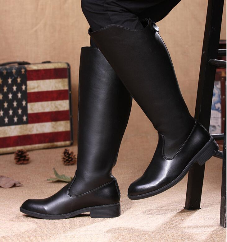 New Arrival Men'S Knee High Boots,Punk Black Pu Leather Back ...