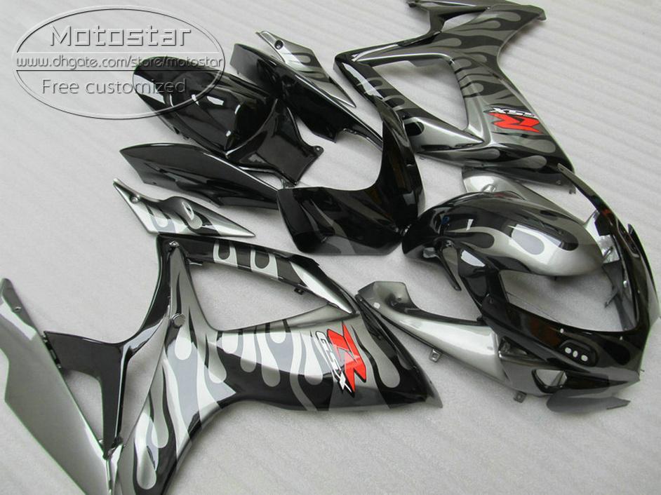 Kit de carenagem plástico para SUZUKI GSX-R600 GSX-R750 06 07 caricas K6 GSXR 600/750 2006 2007 chamas cinzentas em carroçaria preta V24F