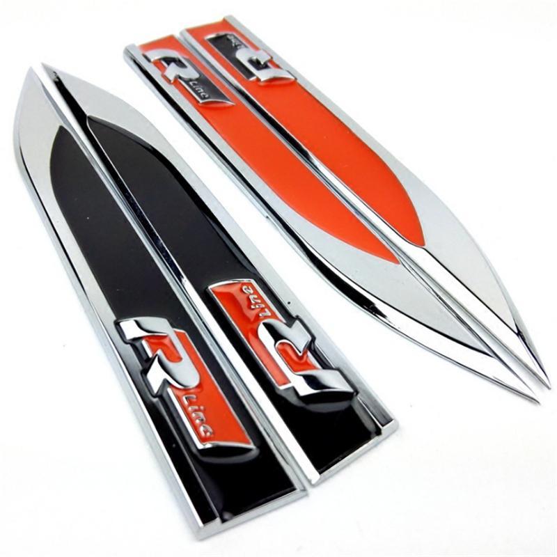 R Linie Rline Metall Auto Fender Side Badge Aufkleber Emblem Aufkleber Auto Styling Zubehör Für VW POLO Golf 4 5 6 7 MK5 MK6 Jetta