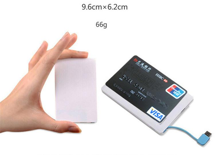 Portable 2500mah Ultra Thin Credit Card Power Bank USB Promotion PowerBank with Built In USB Cable Backup Emergency Super Light Small