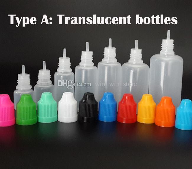 زجاجة إبرة 3ML 5ML 10ML 15ML 20ML 30ML 50ML PE / PET فارغة E السائل زجاجة عصير القطارة مع قبعات Childproof سعر المصنع