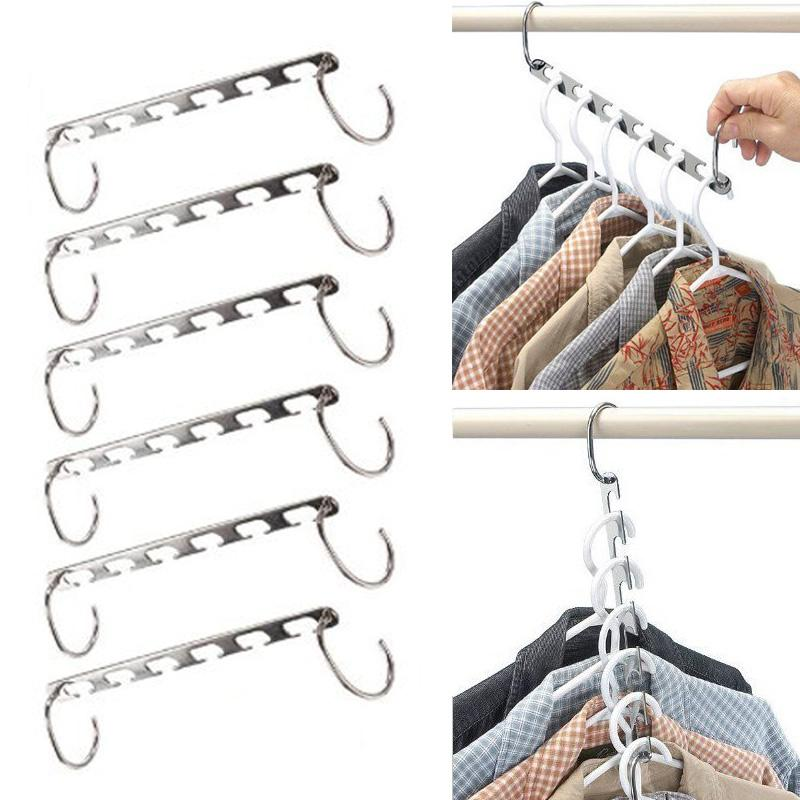 6pcs Stainless Steel Clip Stand Clothes Hanger Pants Skirt Kid Clothes Adjustable Pinch Grip Clothing Organizer Save Space