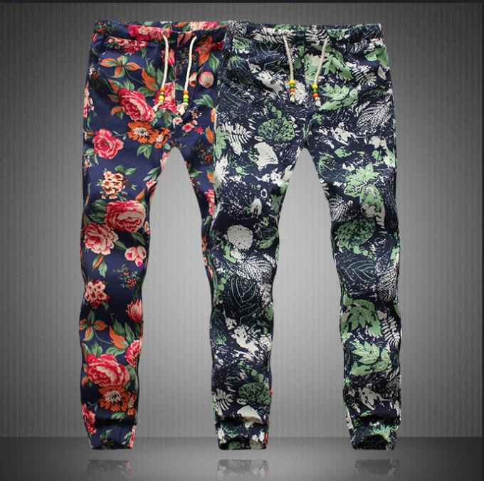 2b72f95f201 2019 Men S Pants 2018 Spring Men Floral Print Pants Man Elastic Waist  Capris Boys Long Trousers Men Plus Size M 5XL Linen Trousers AFM002 From  Allforman