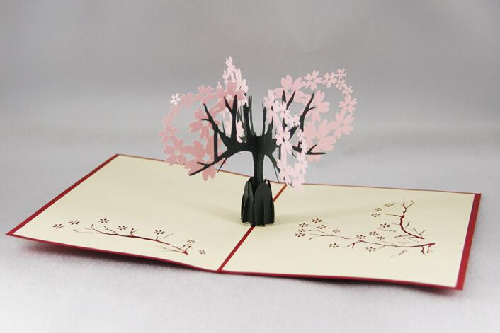 Oriental Cherry 3d Pop Up Gift Greeting 3d Blessing Cards – Happy Birthday Card 3d