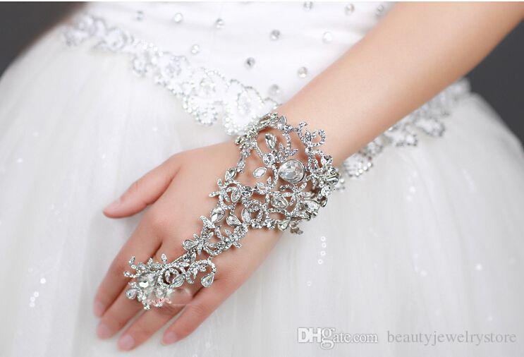 Wedding Bracelets for Bridal Crystal Rhinestone Bracelet Prom Party Jewelry with Ring Wristband Bracelet bracciali donna