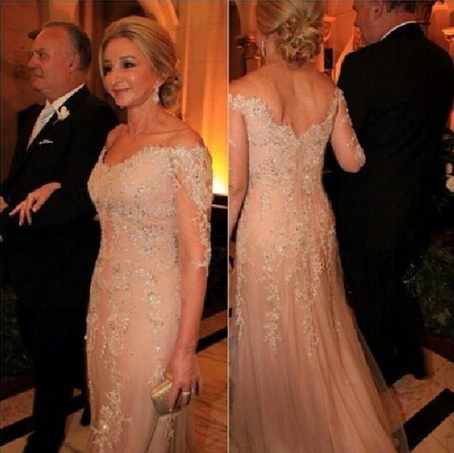 샴페인 레이스 아플리케 공식적인 이브닝 드레스 어깨에서 섹시한 2016 슬리브 라인 프로모션 가운 신부 가운의 우아한 어머니