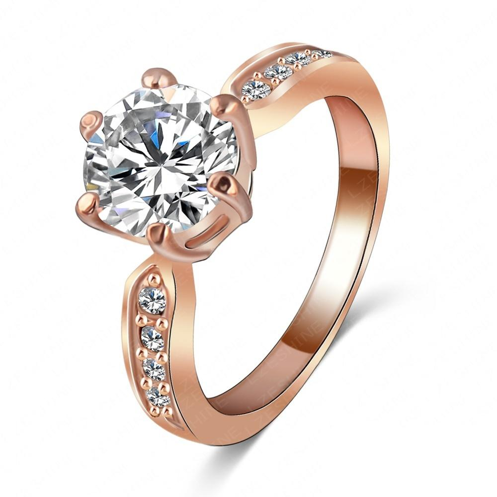 Kate Princess Wedding Rings 18k Rose GoldPlatinum Plated Clear