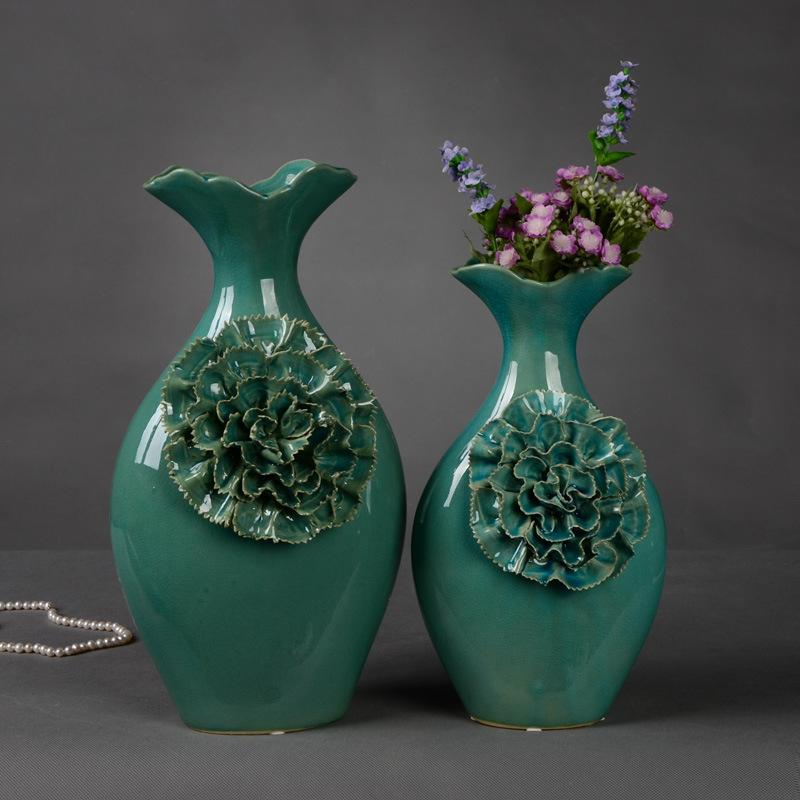 Wowo Home Retro Handmade Ceramic Flower Applique Solid Big Dark Vase