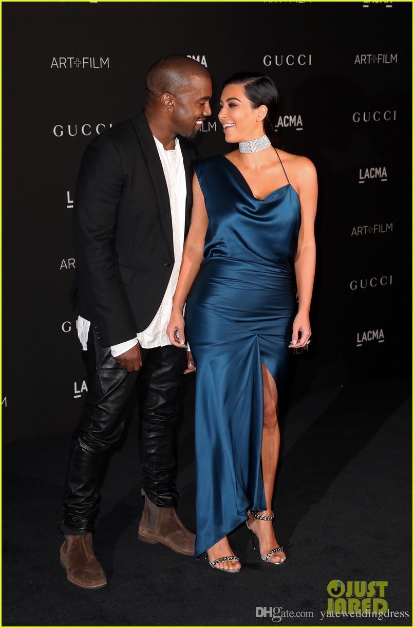 2014 Red Carpet Celebrity Dress CMA Kim Kardashian One Shoulder Mermaid Evening Gowns Formal Women Wear