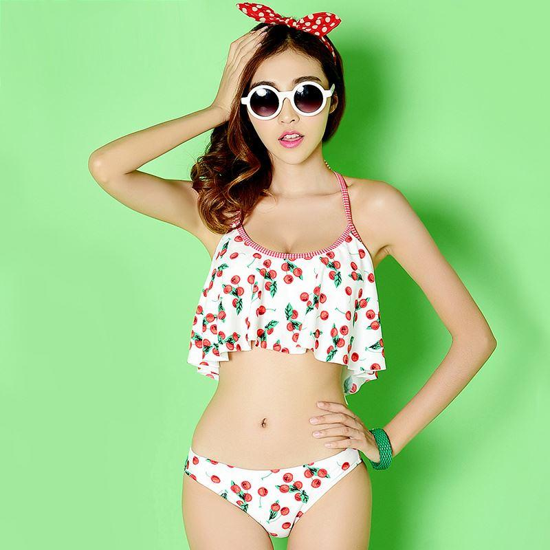 Japanese Cherry Swimsuit Tide Models Flounced Bikini Was Split Chest Was Thin Swimsuit Triangle Soft Sister Spa Sports Yoga Fitness Swimsuit