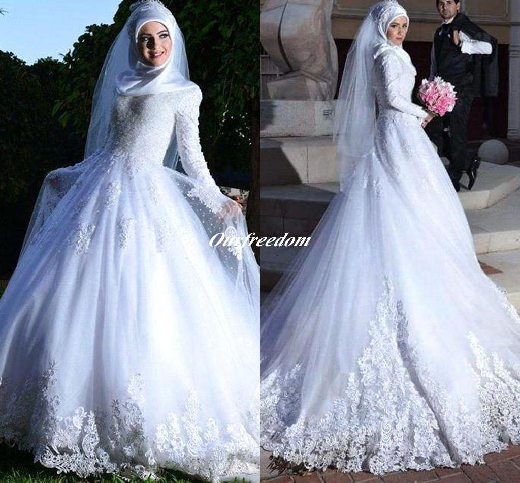 Long Sleeve Muslim Hijab Wedding Dresses 2016 New Arrival Lace Up Appliques Islamc Bridal Gown Custom Made For Wedding Party High Quality