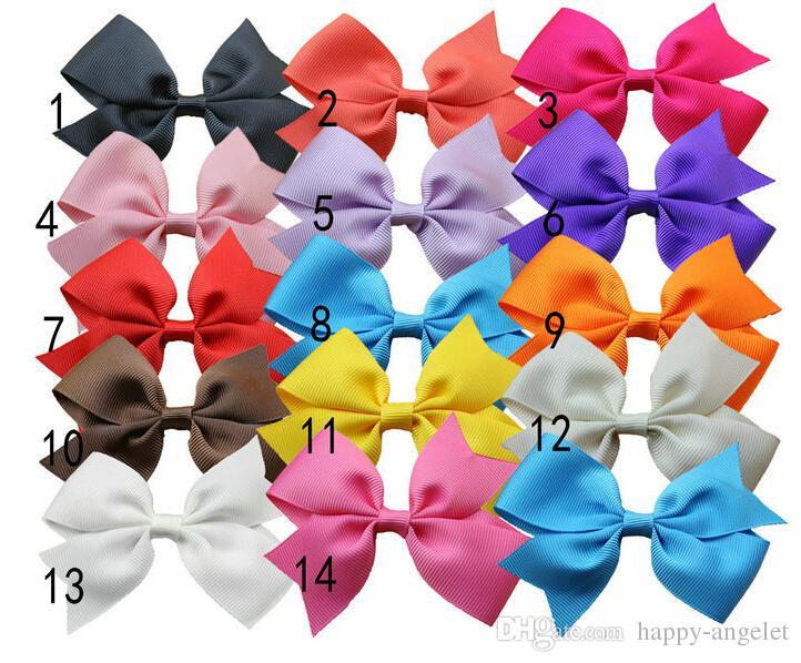 девочек аксессуары для волос младенца волос смычка Grosgrain ленты луки Hairband пятнистая красочные с зажимом HD3301