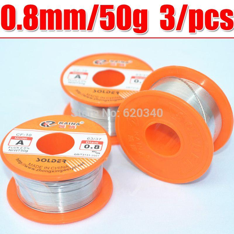 2018 3/Pcs 0.8mm 50g Tin Lead Melt Rosin Core Solder Soldering Wire ...