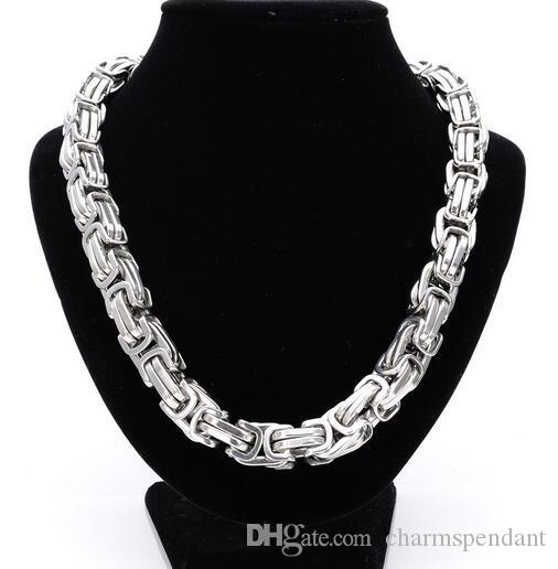 2018 Brand New 252g Heavyweight Huge 316L Stainless steel Large Big Box Byzantine Chain Necklace 12mm 24'' Cool Gifr for Men'S JEWELRY