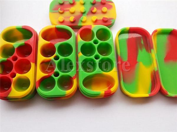 Antiaderente Wax Contenitori 6 + 1 silicone grande cera può container silicone colorati cera vasetti dab stoccaggio dabber olio vaso vape penna secco dell'erba