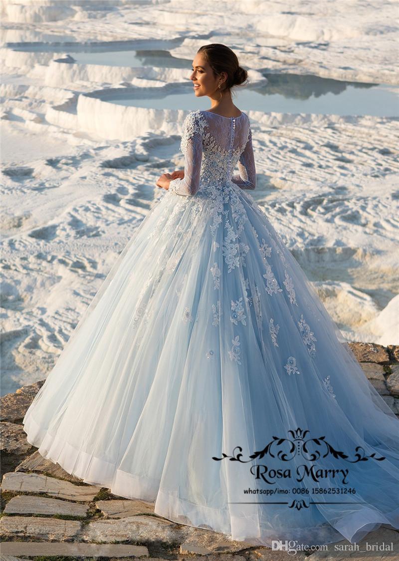 Изысканный голубой бальное платье Свадебные платья 2020 с длинными рукавами старинные кружева с блестками бисером плюс размер арабский турецкий кантри свадебные платья