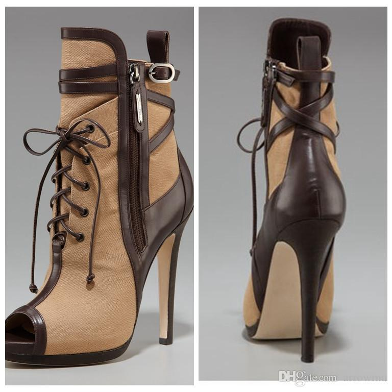 Lace Up Women Boots Cheap Brown High Thin Heels Real Image Plus ...