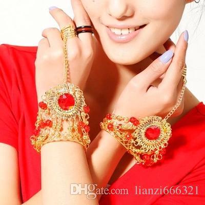 BELLY DANCE COSTUME FASHION JEWELRY BRACELET TRIBAL ACCESSORY Belly Dance Gem Bracelet Blue/ Red /Rose red
