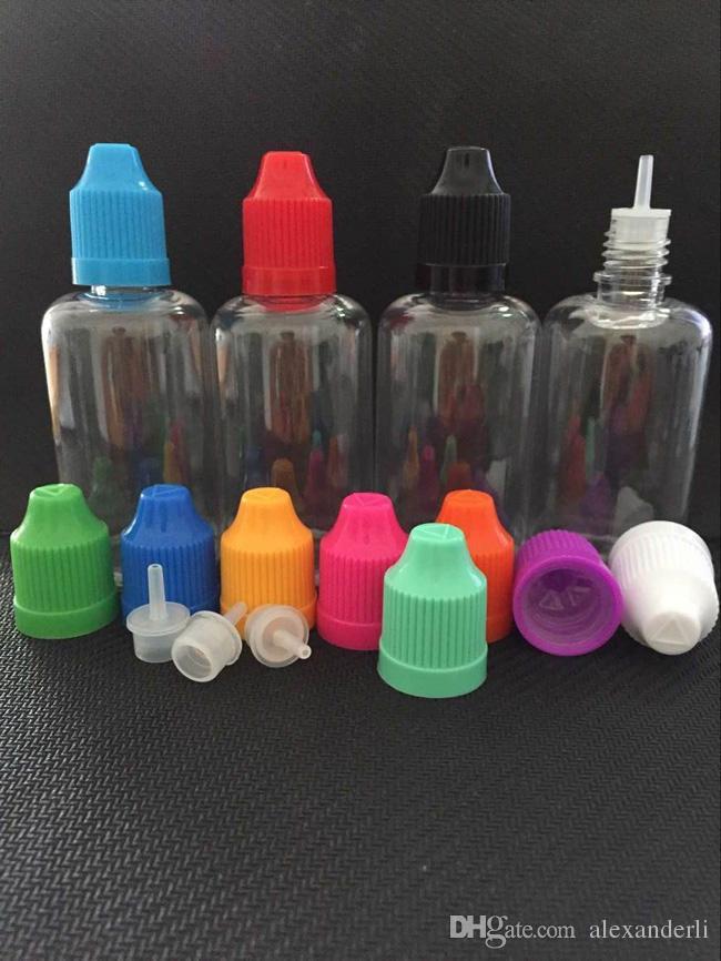 Plastic Bottle 5ml 10ml 15ml 20ml 30ml 50ml PET Dropper Bottles With Child Proof Caps Thin Tips E Liquid E Vapor Dropper Bottle