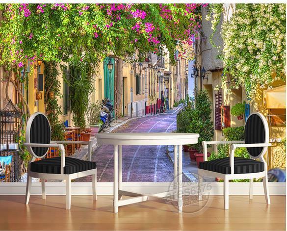 Papel De Parede 3d Street View Romantic Garden Non Woven Wallpaper