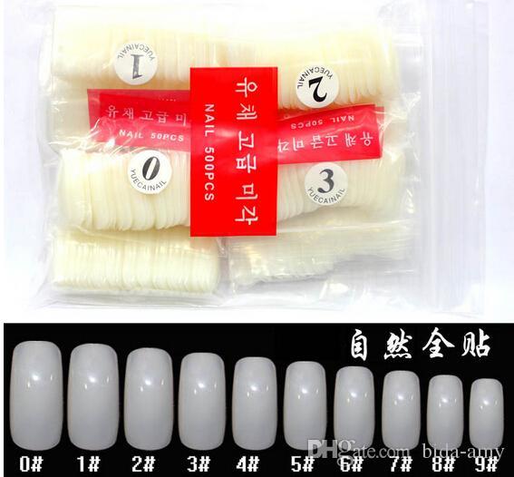 500 Natural Metade Branco Dicas Design Artificial Francês Estilo Acrílico Falso Nail Art Tips Shippin Livre