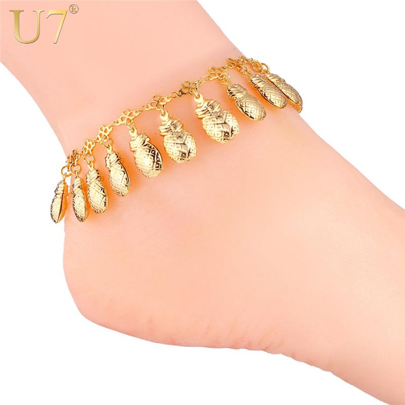 U7 Unisex Anklet Sweet Fruit pineapple Women/Men 18K Real Gold/Platinum Plated Foot Bracelet Fashion Cute Jewelry 7-A933