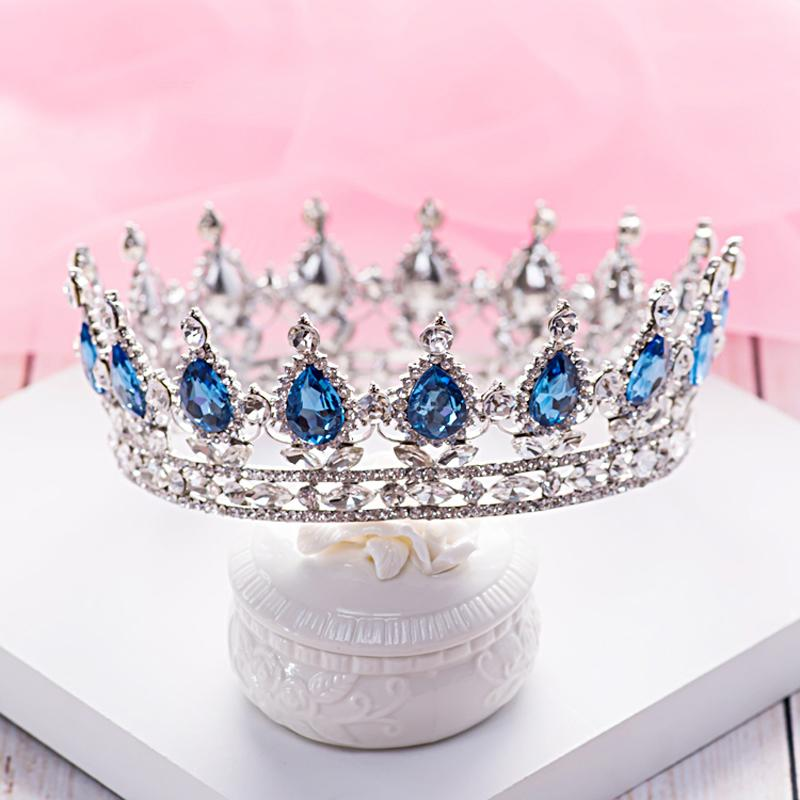 Queen Crown Luxurious Blue Diamond Pageant Wedding Accesorio de la joyería nupcial Quinceañera Byzantine Tiaras Party Prom Diadema