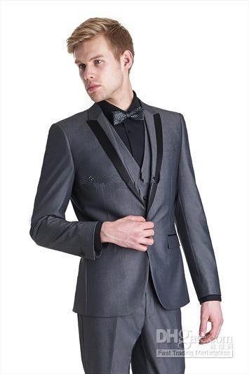 Custom Made Two Buttons Beige Groom Tuxedos Best Man Groomsmen Men Wedding Suits Bridegroom