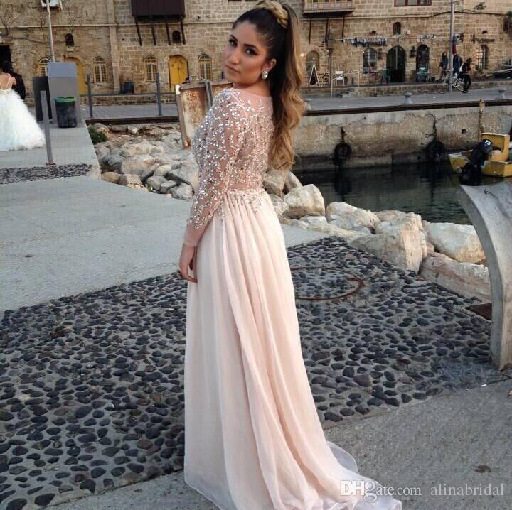 Elie Saab Designer Kristall Perlen Prom Kleider Sheer Bateau-Ausschnitt Lange Ärmel A-Linie Kapelle Zug Chiffon Abendkleider Celebrity Dress