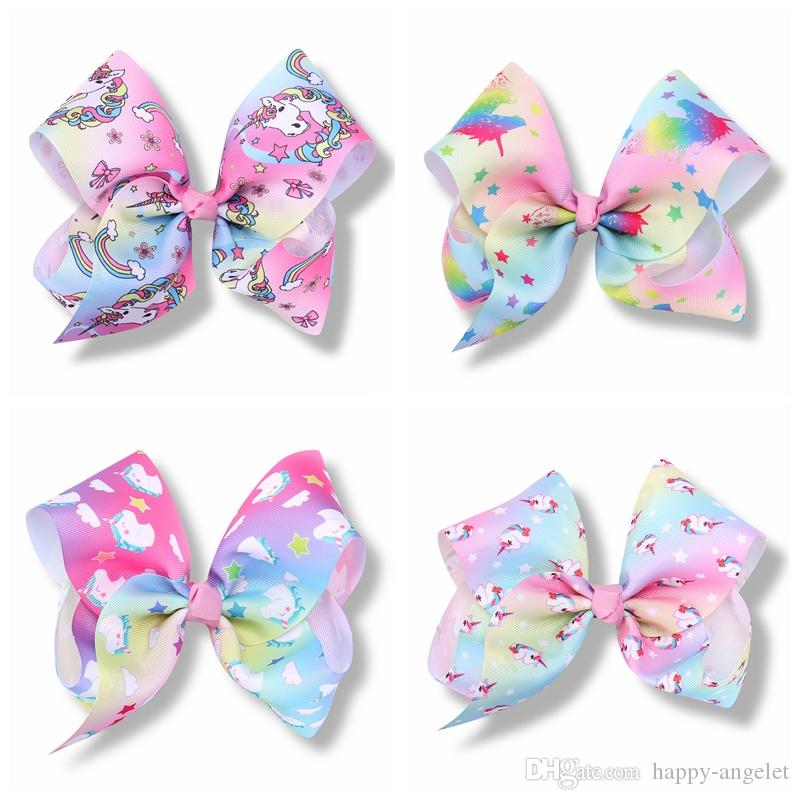 20pcs Girls Jojo Unicorn 7 inch hair Bows Alligator Clips big Paint Love ombre rainbow bowknot hairpins headwear bobbles Accessories HD3514