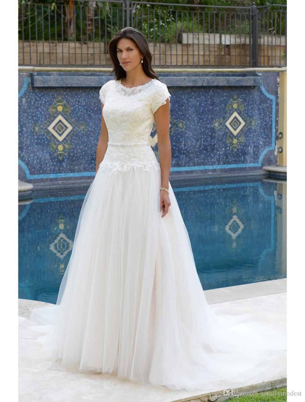 c8779c3d7cb Discount 2018 New Lace Bodice Modest Wedding Dresses With Tulip Sleeves  Jewel O Neck Buttons Over Zipper Back LDS Bridal Gown With Beaded Waist  Band Halter ...