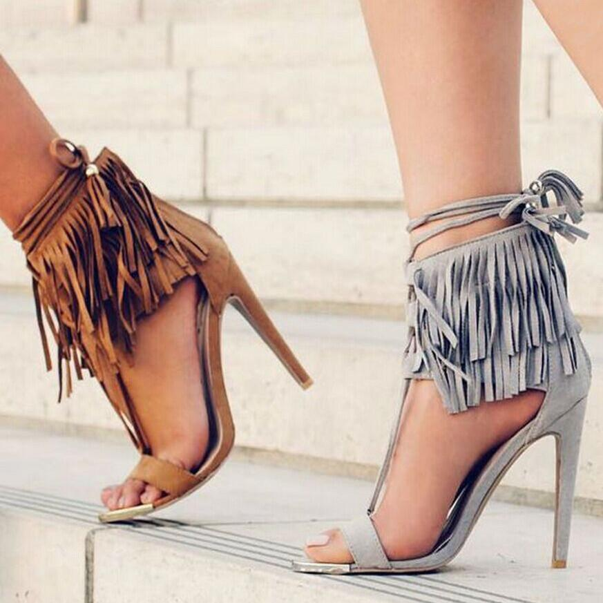 Celebrity Brand Street Style Lace Up Strappy High Heels Tassel ...