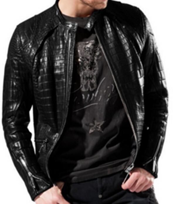 2017 High Quality Fashion Leather Jacket Casual Coat Men Crocodile ...