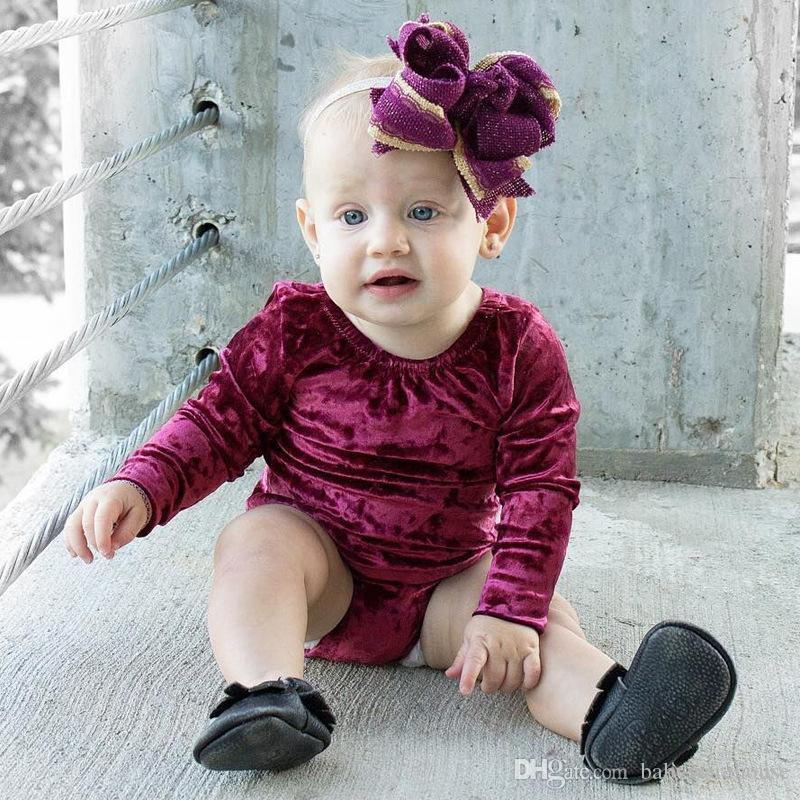 2a272b80fc29 2019 Infant Baby Girl Flannel Romper Warm Long Sleeve Velvet Jumpsuit  Toddler Kids Clothes Wine Red Baby Romper 2018 Spring Autumn Girls Clothing  From ...