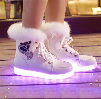 2015 hiver grands enfants grande fille étudiant chaussure led bottes USB charge 2 couleurs blanc noir taille 35-40
