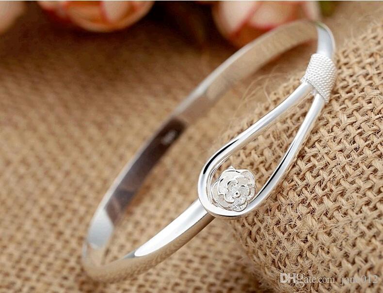 925 plata del pun ¢ o de la placa de la joyería hecha a mano pura de la flor de la manera de Sakura mujeres pulseras del brazalete para la venta barata