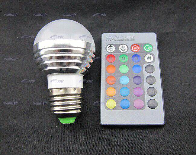 LED 3W RGB globe bulb RGB bulb Aluminum 85-265V Wireless Remote Control E27 dimmable RGB Light color change led bulb