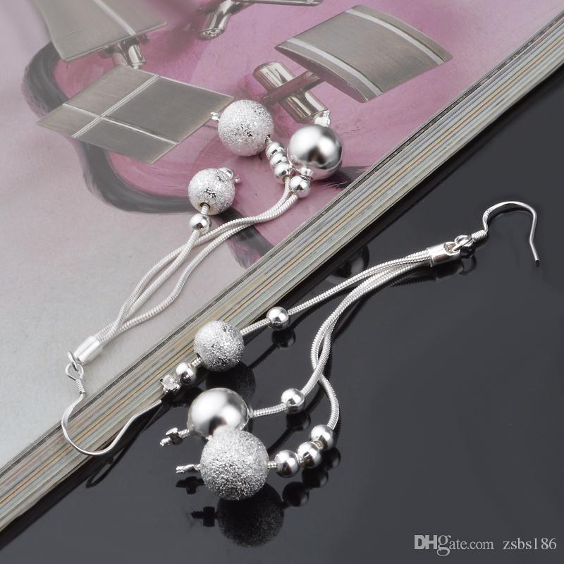 Ucuz 925 ayar gümüş üç telli boncuk takı moda parti Dangle Küpe kadınlar için ücretsiz kargo En kaliteli